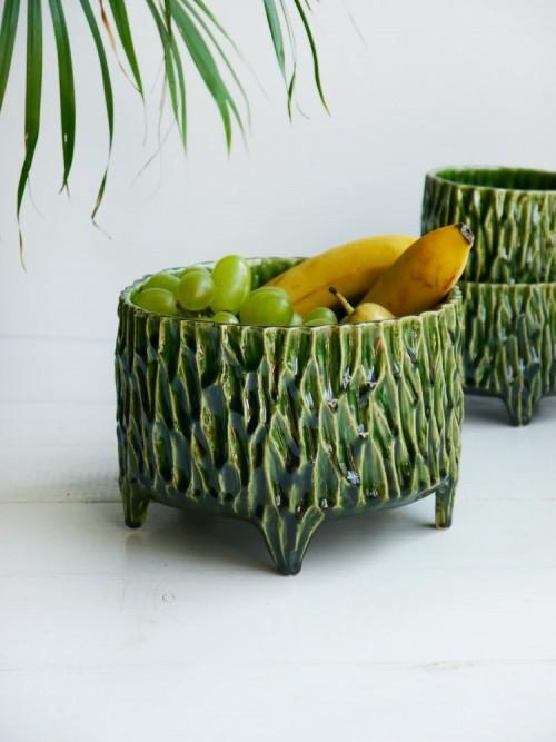 Zielona donica z nóżkami, misa na owoce